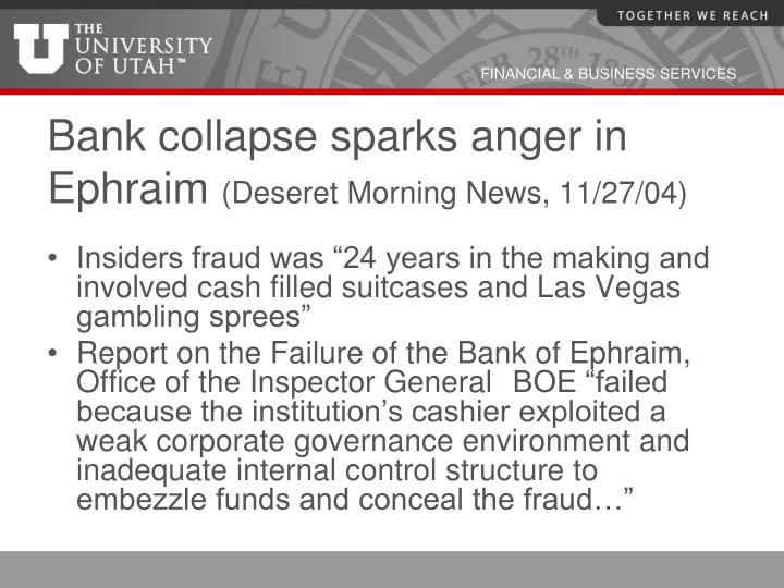 Bank collapse sparks anger in Ephraim