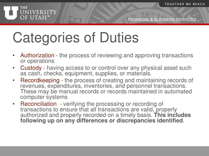 Categories of Duties