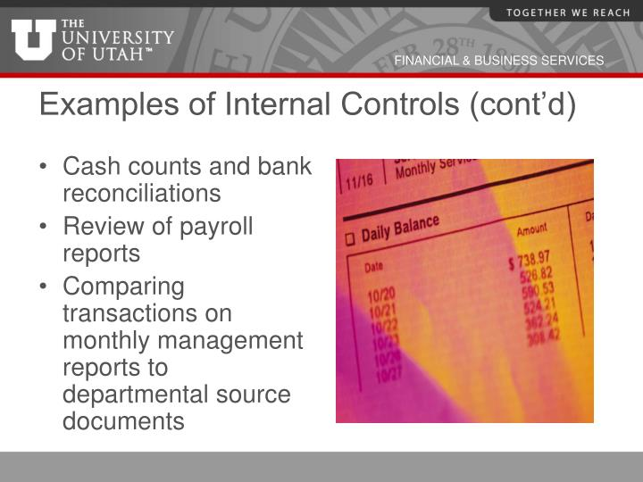 Examples of Internal Controls (cont'd)