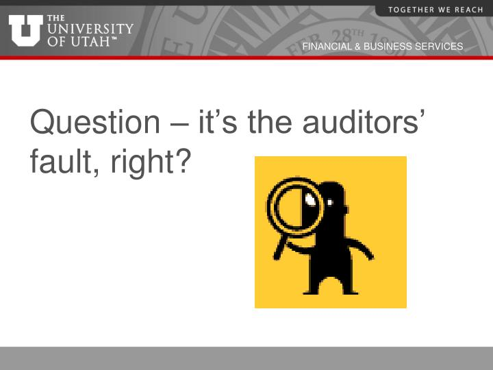 Question – it's the auditors' fault, right?