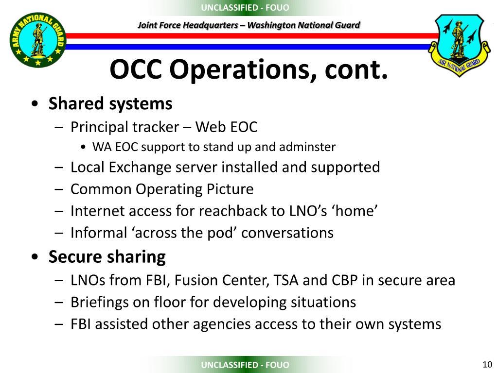 OCC Operations, cont.