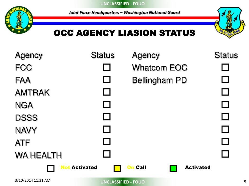 OCC AGENCY LIASION STATUS