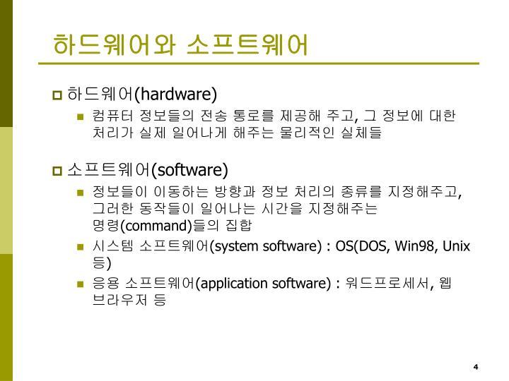 하드웨어와 소프트웨어