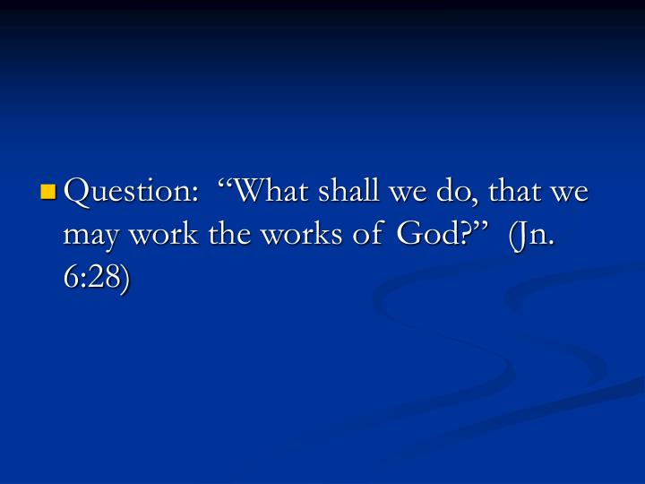 "Question:  ""What shall we do, that we may work the works of God?""  (Jn. 6:28)"