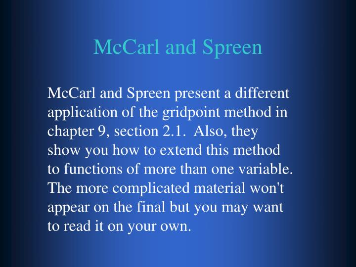 McCarl and Spreen