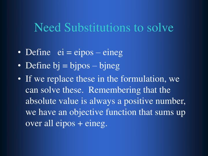 Need Substitutions to solve
