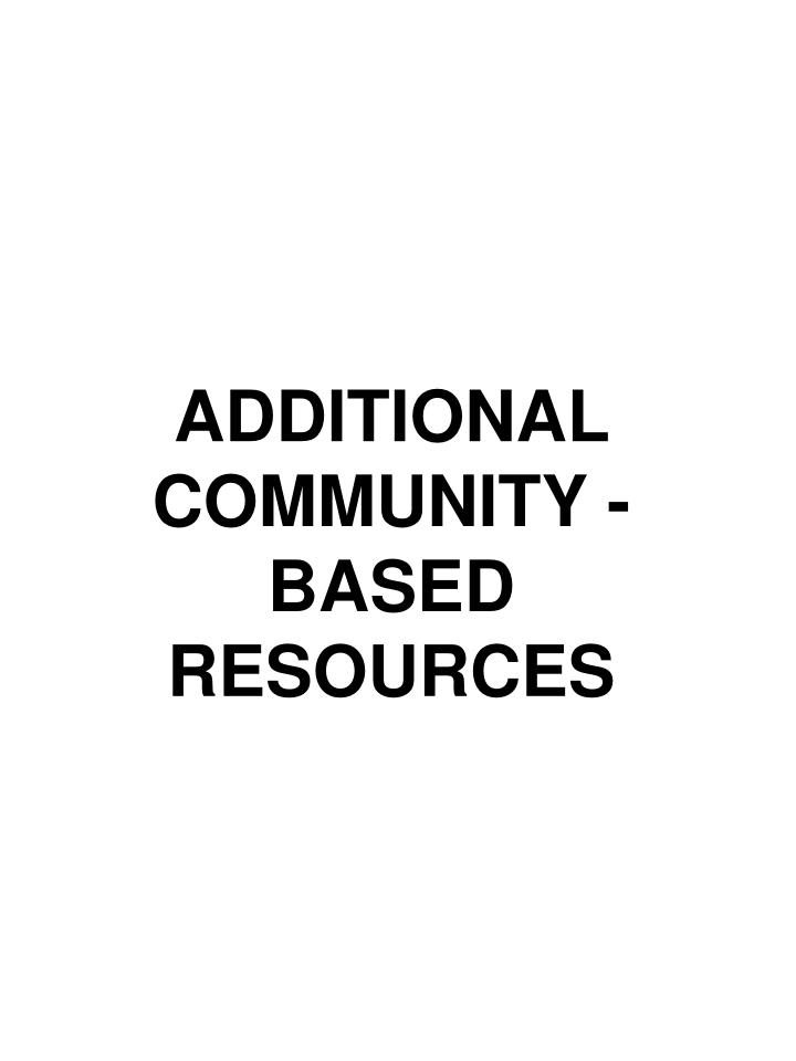 ADDITIONAL COMMUNITY -BASED RESOURCES