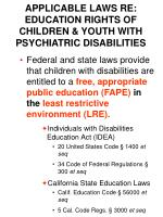 applicable laws re education rights of children youth with psychiatric disabilities