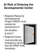 at risk of entering the developmental center