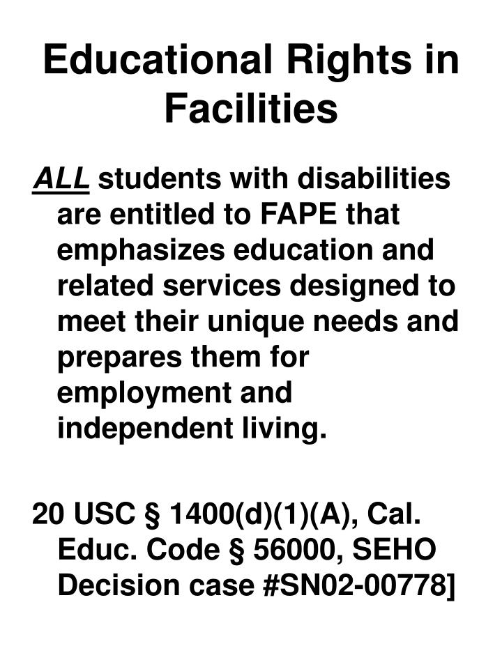 Educational Rights in Facilities