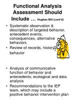 functional analysis assessment should include hughes bill cont d