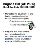 hughes bill ab 2586 cal educ code 56520 56524