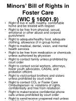 minors bill of rights in foster care wic 16001 9
