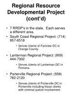 regional resource developmental project cont d
