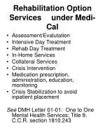 rehabilitation option services under medi cal