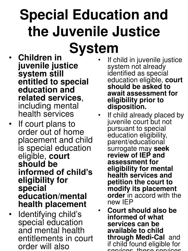 Children in juvenile justice system still entitled to special education and related services