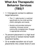 what are therapeutic behavior services tbs