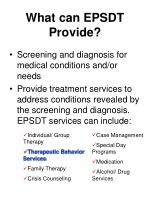 what can epsdt provide