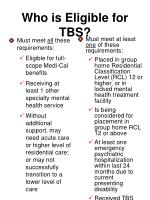 who is eligible for tbs