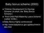 baby bonus scheme 2000
