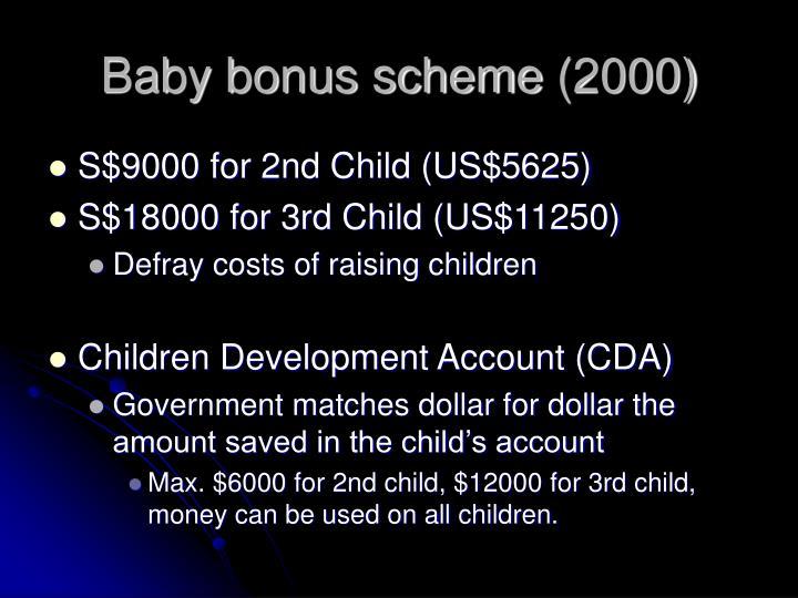 Baby bonus scheme