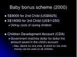 baby bonus scheme 20001