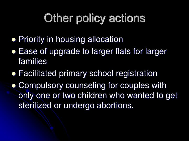 Other policy actions