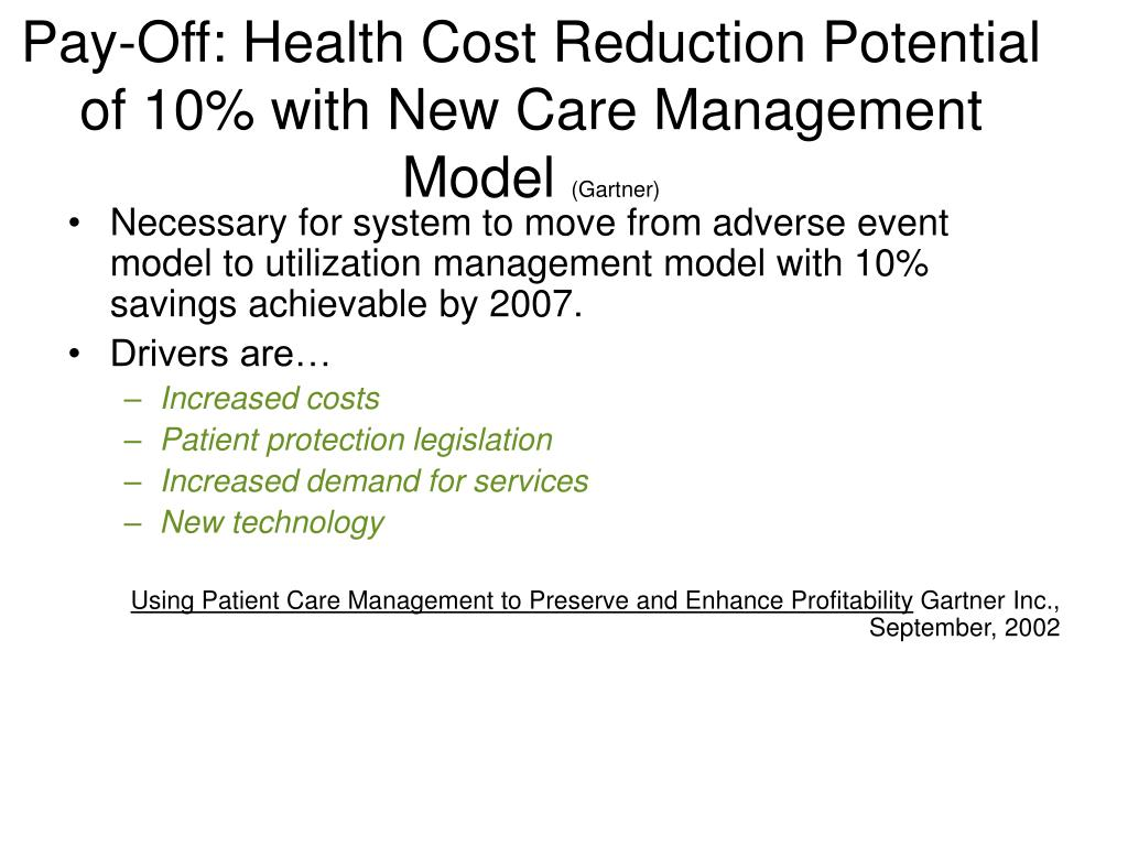 Pay-Off: Health Cost Reduction Potential of 10% with New Care Management Model