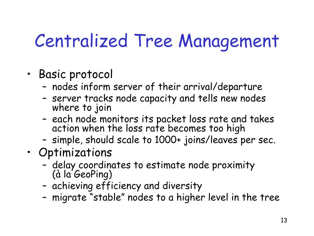 Centralized Tree Management