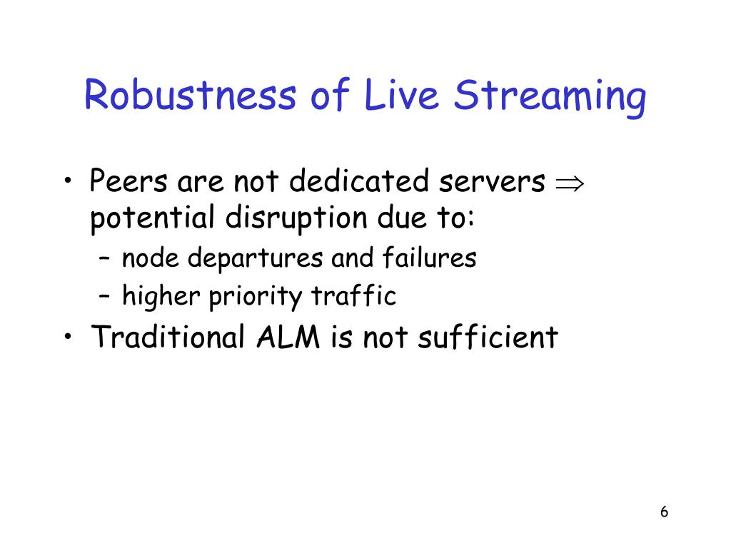 Robustness of Live Streaming