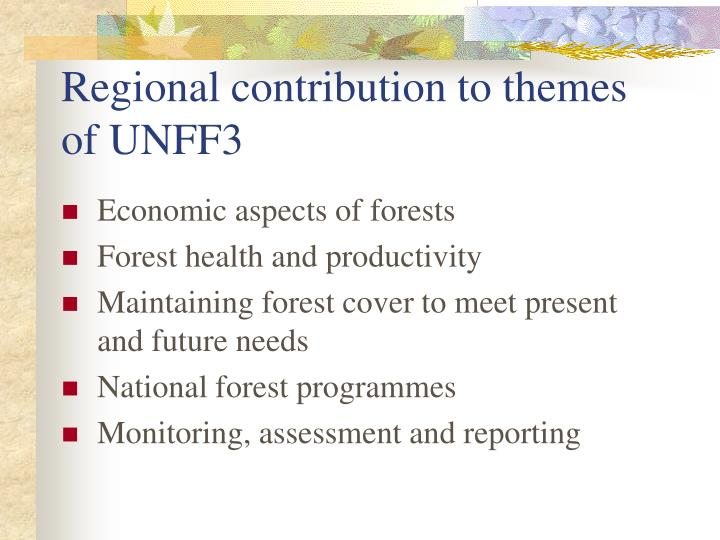 Regional contribution to themes of UNFF3