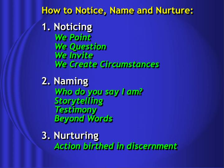 How to Notice, Name and Nurture: