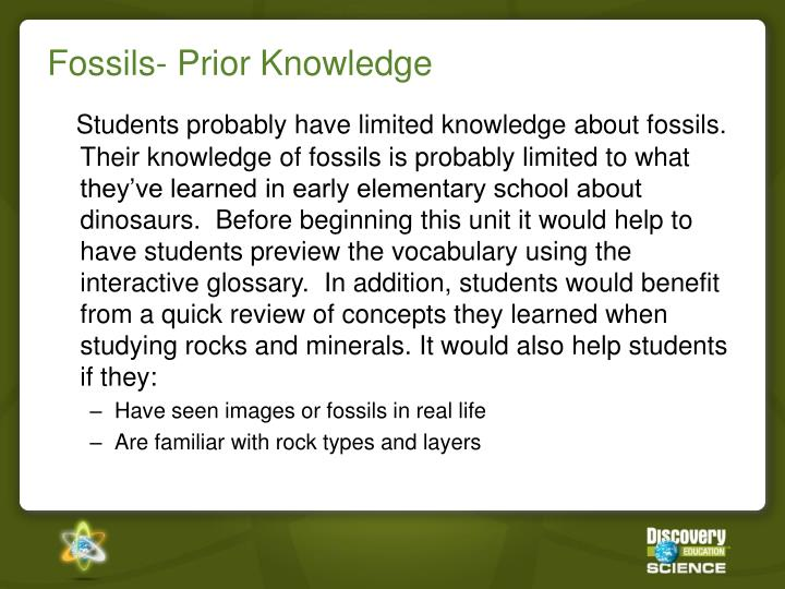 Fossils prior knowledge