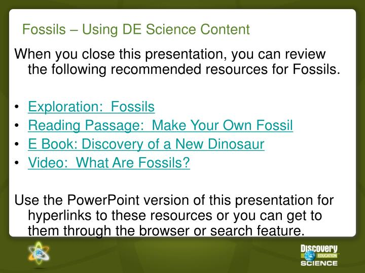 Fossils – Using DE Science Content