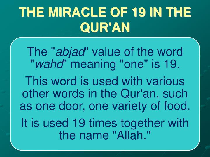 THE MIRACLE OF 19 IN THE QUR'AN