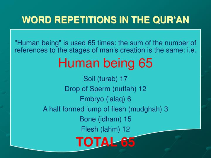 WORD REPETITIONS IN THE QUR'AN