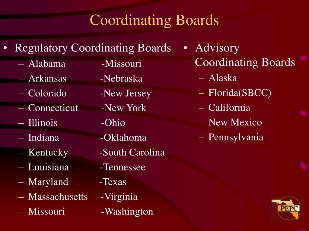 Regulatory Coordinating Boards