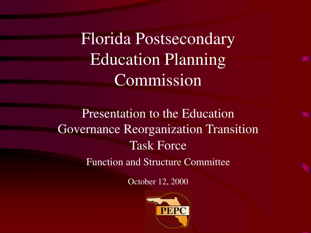 Presentation to the Education Governance Reorganization Transition Task Force