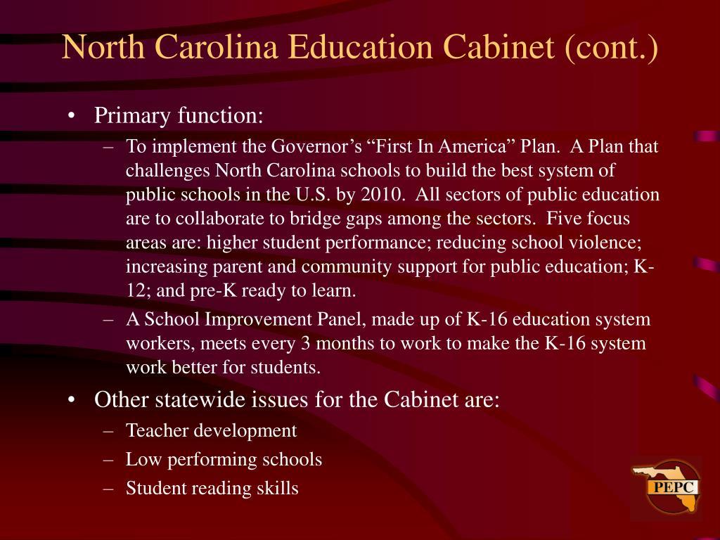 North Carolina Education Cabinet (cont.)