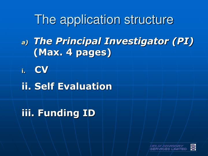The application structure