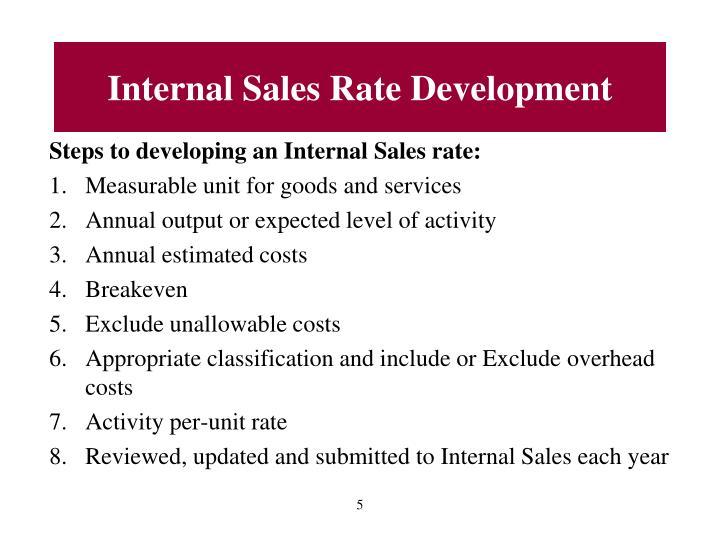 Internal Sales Rate Development