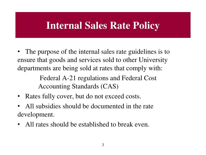 Internal Sales Rate Policy