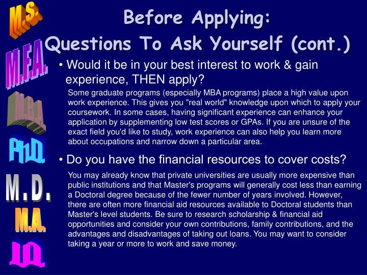 Before Applying: