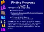 finding programs cont