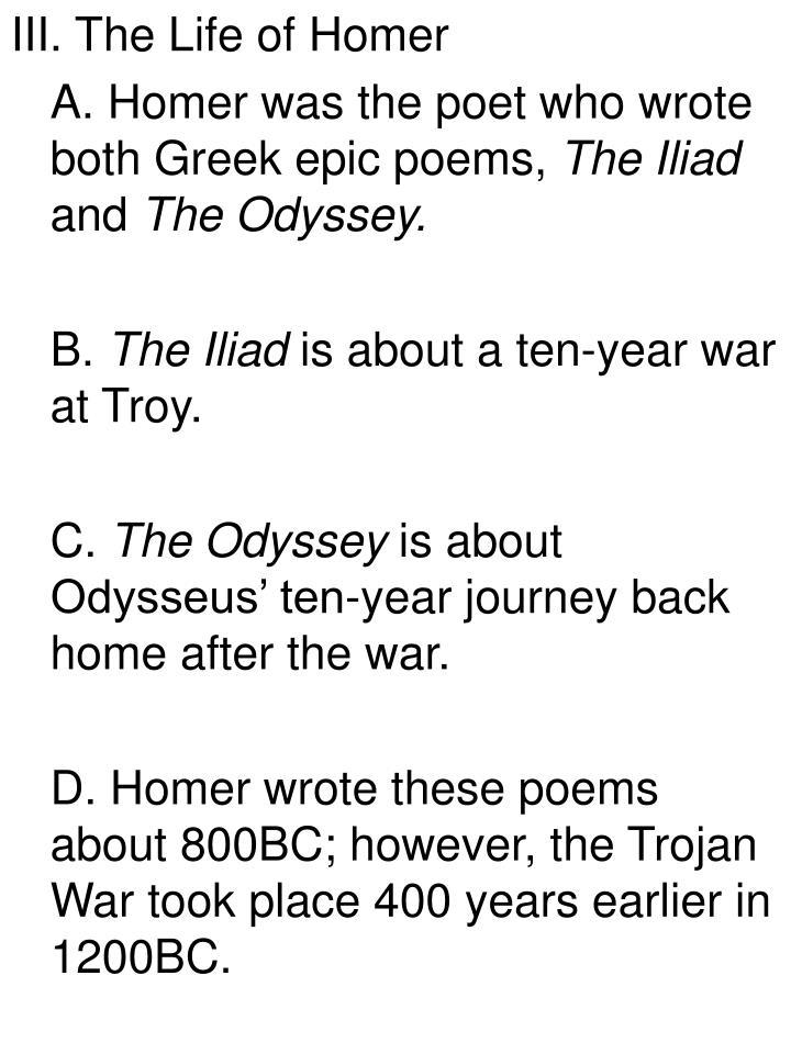 III. The Life of Homer