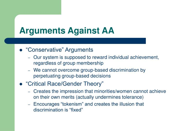 Arguments Against AA