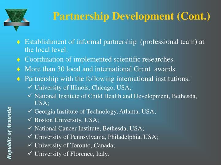 Partnership Development (Cont.)