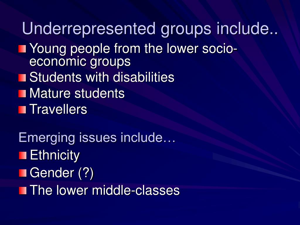 Underrepresented groups include..