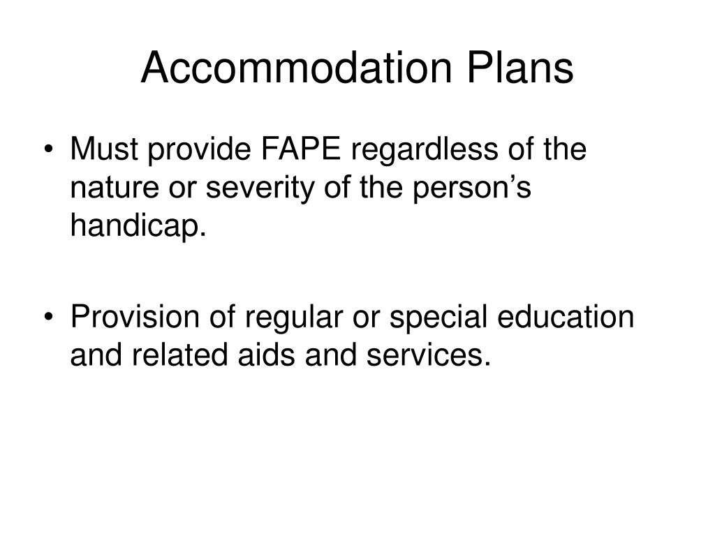 Accommodation Plans