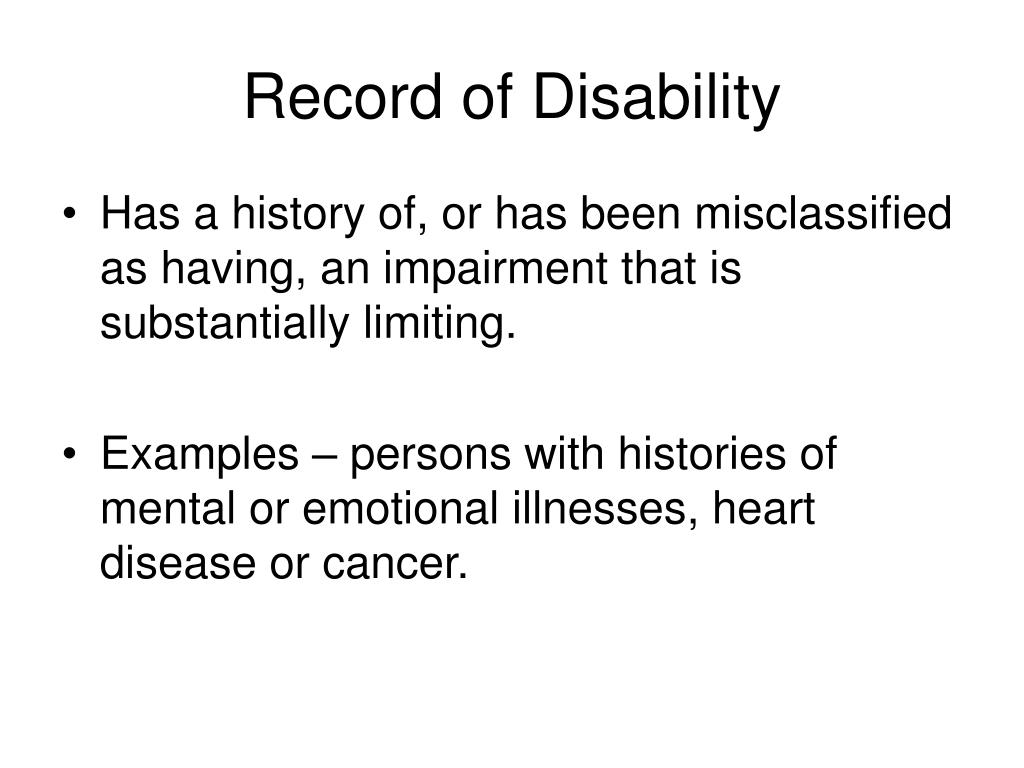 Record of Disability